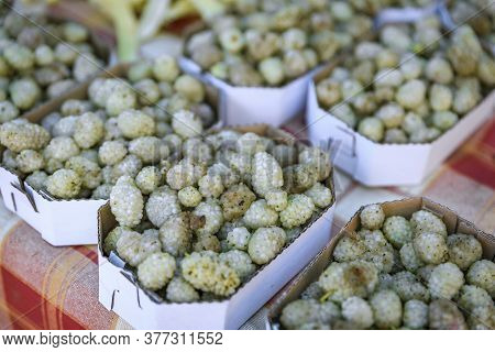 Sweet Ripe White Mulberry In Baskets For Sale In At An Outdoor Farmers Market In Old Town Kotor, Mon