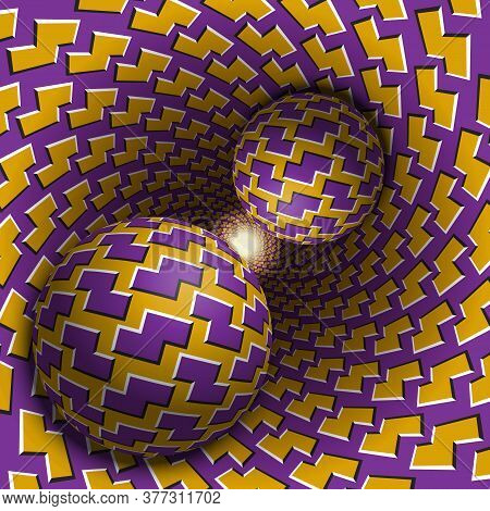 Two Balls Are Moving In Hole. 3d Objects Of Zigzag Shapes Pattern. Optical Illusion Abstraction In A