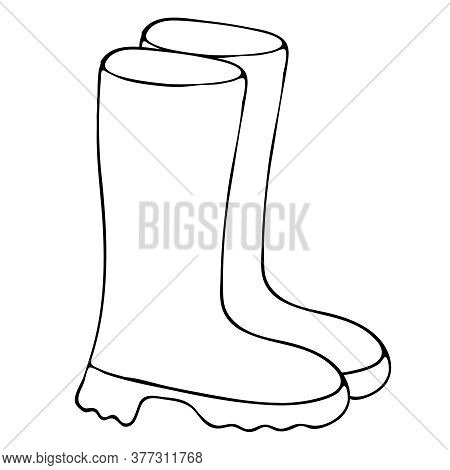 Rubber Boots From Autumn Rain, Freehand Drawing, Vector Element In Doodle Style, Coloring Book, Blac