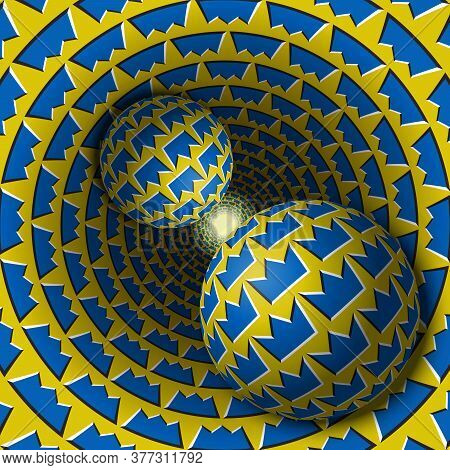 Two Balls Are Moving In Hole. 3d Objects Of Crown Shapes Pattern. Optical Illusion Abstraction In A