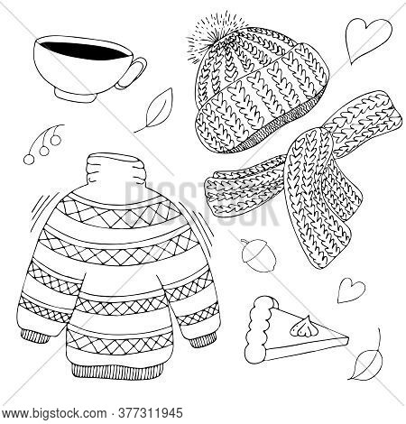 Warm Cozy Set Of Items For Autumn - Knitted Hat, Scarf, Sweater, Cup Of Hot Tea And Pumpkin Pie, Fre