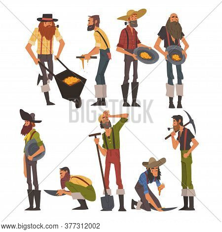 Male Prospectors Characters Set, Bearded Gold Miners Wild West Characters Wearing Vintage Clothes Wi