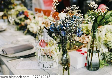 Table Setup, Wedding Guest Table, Reception Layout Rustic And Vintage Background