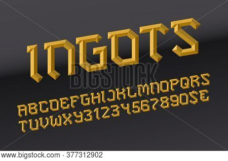 Ingots Letters With Numbers And Currency Signs. Golden Faceted Font. Isolated English Alphabet.