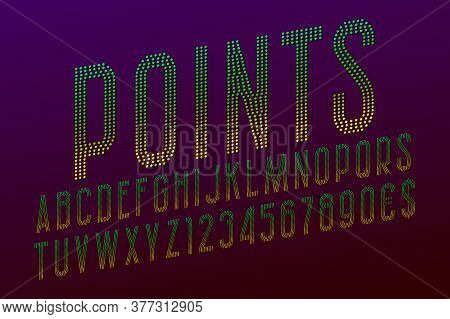 Points Letters With Numbers And Currency Signs. Yellow Green Gradient Dotty Font. Isolated English A