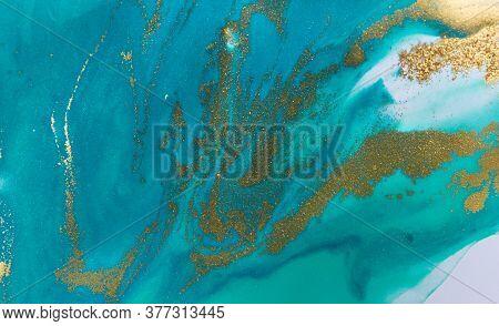 Aquamarine Pattern With Golden Splashes On White Background.