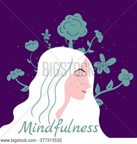 Mindfullness Meditation Woman Meditate. Mental Calmness And Self Consciousness Flora Concept. Vector