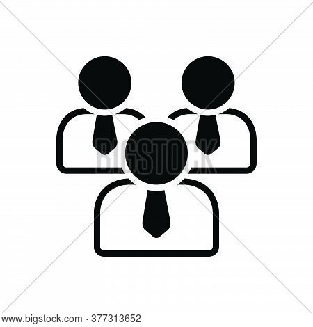 Black Solid Icon For Personnel Staff People Worker Group Employee Authorized Community Management
