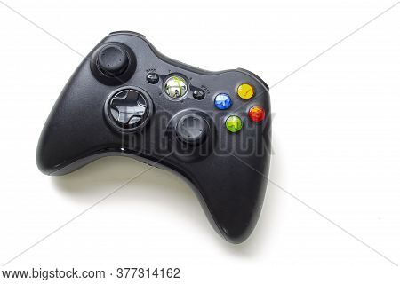 Calgary, Alberta, Canada. July 20, 2020. Black Xbox Control Remote On A White Background