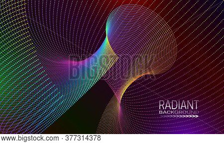 Radiant Background Design With Multicoloured Dots And Lines Array. Abstract Poster Background.