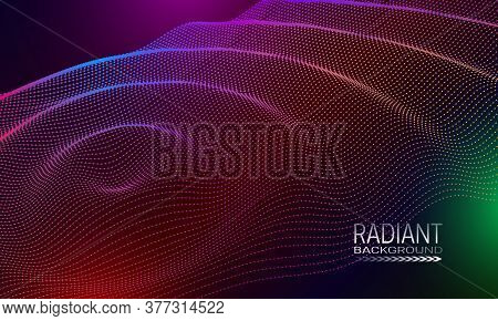 Radiant Wavy Background Design With Multicoloured Dots And Lines Array. Abstract Cyberspace Backgrou