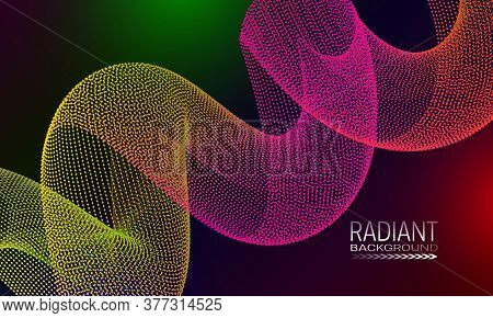 Radiant Colourful Background Design With Iridescent Spiral Abstraction. Abstract Cyberspace Backgrou