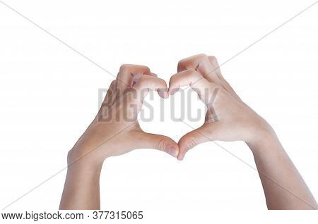 Heart With Hands. Hands Folded In The Shape Of A Heart. Isolated On White Background
