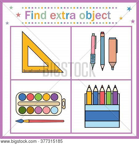 Educational Card For Children, Find An Extra Object That Shows Items For Drawing And A Ruler, A Rule