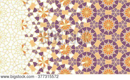 Arabesque Art Vector Pattern. Geometric Arabesque Halftone Pattern With Color Tile Disintegration.