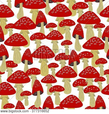 Pattern With Red Amanita Mushrooms. Vector Illustration On A White Background. Seamless Pattern For