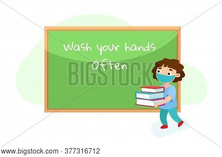 School Student In Medical Mask Carry Books At Blackboard. Kid Character Visit College Or Preschool A