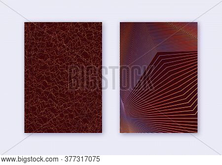 Cover Design Template Set. Abstract Lines Modern Brochure Layout. Orange Vibrant Halftone Gradients