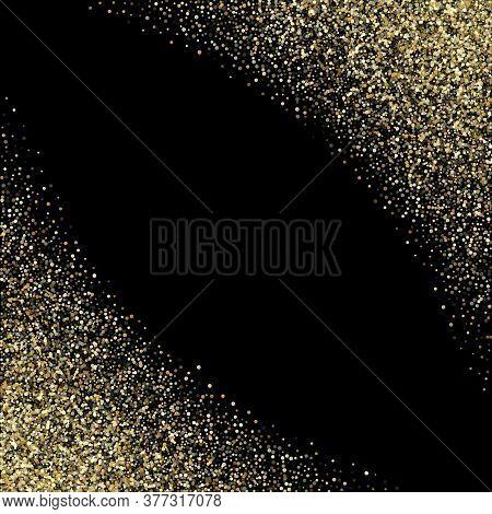 Gold Sparkles Glitter Dust Metallic Confetti Vector Background. Trendy Golden Sparkling Background.