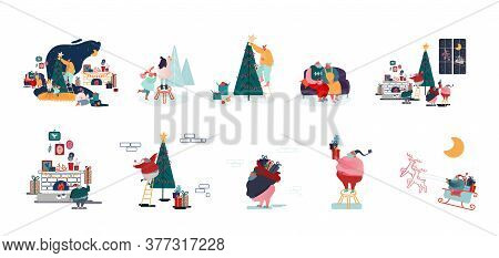 Set Of Male And Female Characters Prepare For Christmas And New Year Holidays Celebration Happy Fami