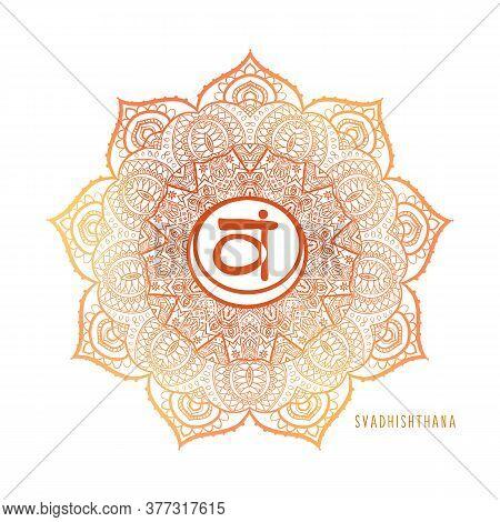 Chakras Coloring Vector Illustration. Chakra Symbol. Red Color. For Logo Yoga Healing, Meditation, K