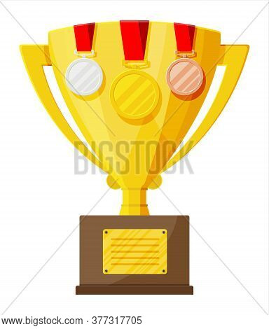 Trophy And Awards. Cup, Medals And Ribbons For Winners. Gold Trophy For Competitions. Award, Victory