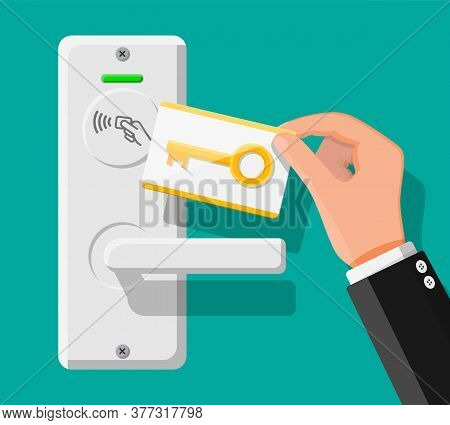 Wireless Key Card In Human Hand With Guest Room Door Handle Sensor. Concept Of Access Identification