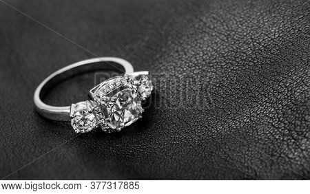 White Gold Engagement Diamond Ring On Leather