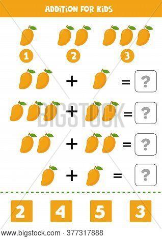 Addition With Cute Cartoon Vector Mango. Printable Worksheet.