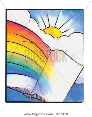 Magic Book With Rainbow And Sunshine