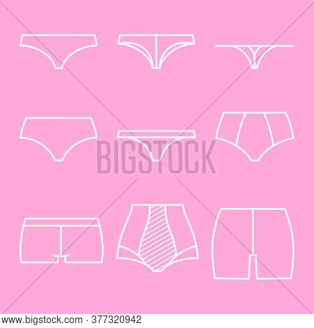 Classification Of Underpants. Types Of Women Briefs - Slip, Tanga, String E.t.c. Set Of Outline Icon