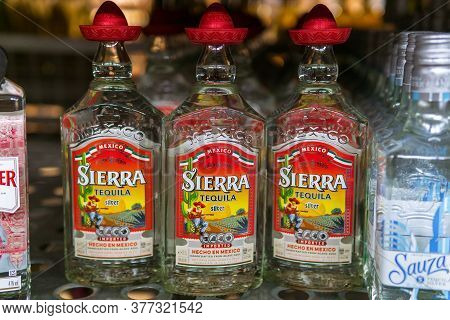 Tyumen, Russia-july 12, 2020: Sierra Tequila Is A Type Of Alcoholic Drink Made From The Blue Agave P
