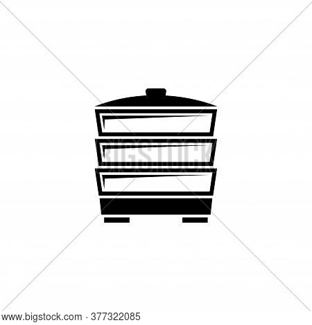 Electric Food Steamer, Steam Cooker. Flat Vector Icon Illustration. Simple Black Symbol On White Bac