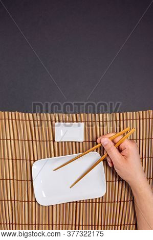 Empty Sushi Plate, With Space For Text, Freespace, Mockup. Vertical Photo
