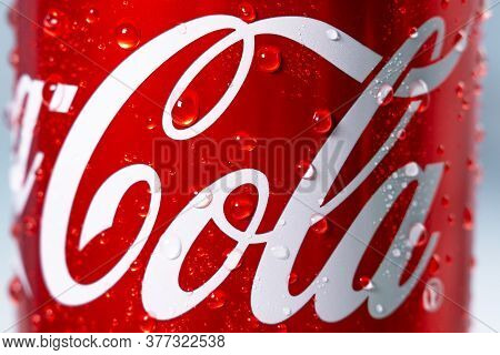 Tyumen, Russia-may 20, 2020: Can Of Coca-cola, Carbonated Soft Drink Logo Close-up
