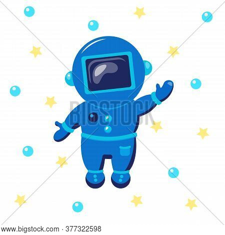 Cute Cosmonaut. Spaceman. Astronaut Exploring Outer Space.