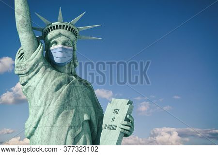 Coronavirus  COVID 19 in USA United States. Statue of Liberty in face medical mask. Support of american doctors. 3d illustration