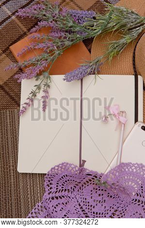 Mock up with open empty diary and lavender flowers, outdoor flat lay photo, girlish secrets concept