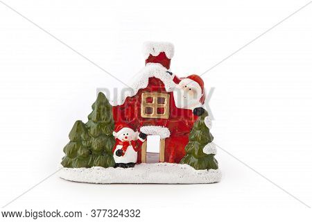 Christmas House Figurine On A White Background
