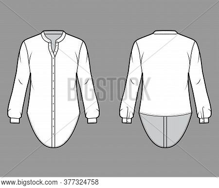 Shirt Technical Fashion Illustration With Curved Mandarin Stand Collar And Long Sleeves With Cuff. F