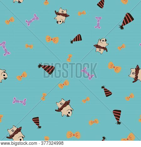 Pug Dog Hat Bone Bow Tie Tutu Seamless Pattern. Great For Birthdays, Gift Wrapping, Wallpaper, Texti