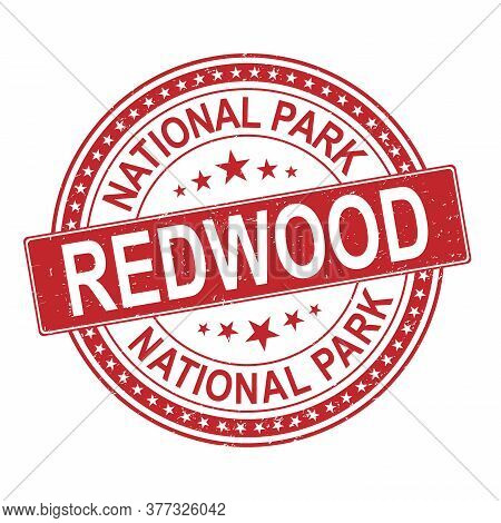 Red Rubber Stamp Redwood National Park, California Vector Illustration
