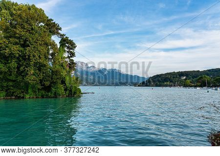 View At The Lake Annecy In France. Lake Annecy Is A Perialpine Lake In Haute Savoie In France. It Is