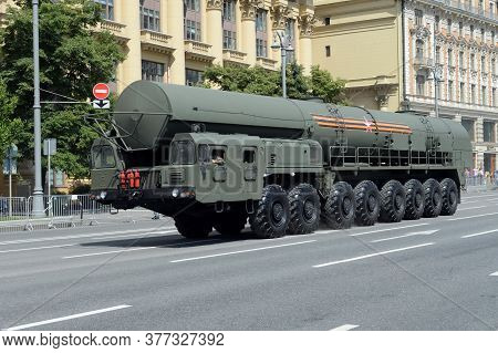 Moscow, Russia - June 24, 2020:the Yars Strategic Missile Complex On Mokhovaya Street In Moscow Duri