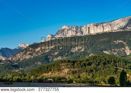 Landscape View At Montmaur En Diois In Vercors, French Alps, France In Europe