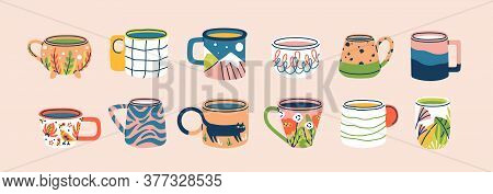 Collection Of Different Modern Cups Decorated With Design Elements Vector Flat Illustration. Set Of