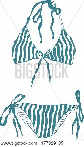 Vector Hand-drawn Stripe Bikini Illustration Graphic Resource
