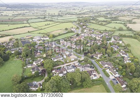 Aerial Panorama Of The Village Of  Brinkworth Is The Longist Village In England