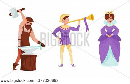 Medieval People With Queen And Bearded Blacksmith Vector Set