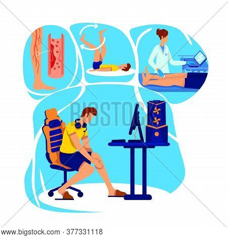 Joint Inflammation Flat Concept Vector Illustration. Hospital Consultation. Bad Posture At Workplace